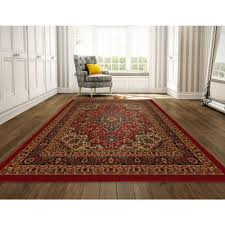 ottomanson ottohome collection persian heriz oriental design dark red 8 ft x 10 ft