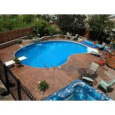 16 x 32 ft crescent inground pool complete package