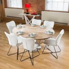 modern dining set round oval extending table plus 6 high white chairs 4114 high