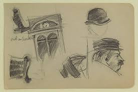 window pencil drawing. study of men\u0027s hats and a window by edward hopper, ca. 1910-20 pencil drawing
