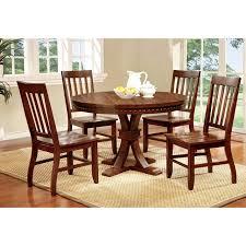 foster i transitional dark oak round dining table set
