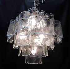 modern murano glass chandelier large mid century italian modern camer glass chandelier