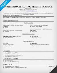 Acting Resume Samples Free Resume Templates 2018