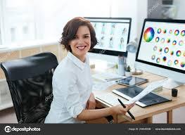Designer Stock Photo Woman Designer Working Computer Office Female Working Web