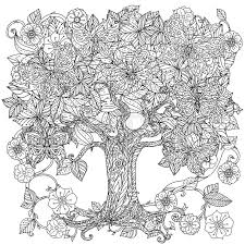stock vector of uncoloured tree and erfly for coloring book in famous zenart art