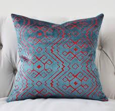 Etsy Throw Pillows Modern Geometric Pillow Cover Teal Blue Pink Velvet Pillow Cover