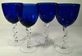 glass a cobalt blue twisted stem wine water glasses libbey
