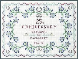 Wedding Anniversary Color Chart Details About Silver Wedding Anniversary Sampler Cross Stitch Kit With Clear Colour Chart