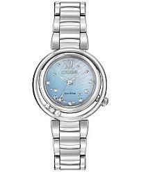 citizen eco drive watches macy s citizen women s eco drive l series sunrise diamond accent stainless steel bracelet watch 29mm em0320