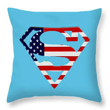 American Flag Superman Shield Throw Pillow for Sale by Bill Cannon