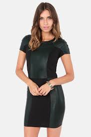 lucca couture dress dark green dress con dress vegan leather dress 87 00