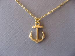 gold anchor necklace nautical pendant by devinmichaels