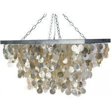 lighting rectangular capiz seashell rain drop pendant lamp champagne