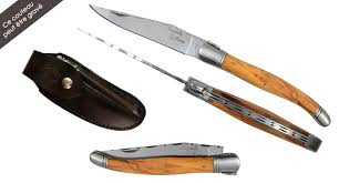 iole knife set in olive wood with leather case and mini