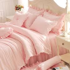 bed cover sets. Diamond Lace Princess Bedding Sets Luxury Pink Ruffles Bed Skirt Solid Color Duvet Cover Bedspread Bedclothes