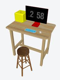 standing desk with stool