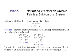 example determining whether an ordered pair is a solution of a system