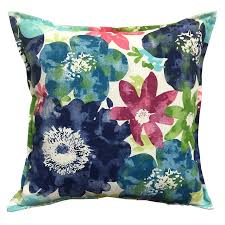 Shop allen roth Blue and Floral Square Throw Pillow Outdoor
