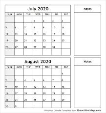July August 2020 Printable Calendar All 12 Month Calendar