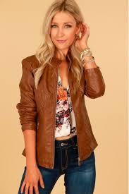 vegan leather jacket camel
