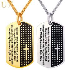u7 dog cross necklaces pendant gold color snless steel chain verse jewelry gift for men p1009