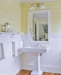 Beadboard Wainscoting In Bathroom With Yellow Plank Walls And ...