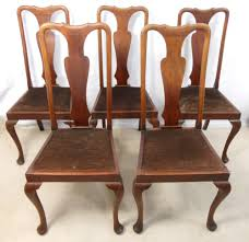 Set Of Five Queen Anne Style Mahogany Highback Dining Chairs