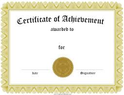 certificate of achievement certificate of achievement