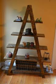 Wonderful Pyramid Brown Rustic Ladder Bookshelf Ikea Made From Trends And  Images