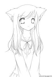 Small Picture Cute Anime Girl Coloring Pages Printable