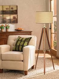 pacific coast lighting 85 2148 68 tripod 1 light floor lamp walnut finish with beige fabric shade wood floor lamp com