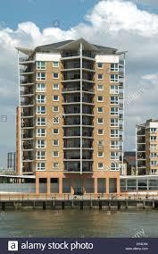 East London River Thames High Rise Block Of Riverside Apartments