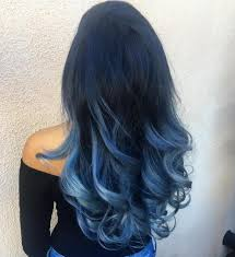Long Black To Pastel Blue Ombre