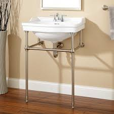 cierra console sink with brass stand 4 faucet drillings polished nickel