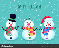 Christmas Vector Greeting Card Cute Snowmen Colorful Winter