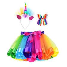 <b>1PCS Unicorn Party</b> Girls Ballet Rainbow Suit Dancing Tutu <b>Kids</b> ...