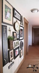 Hallway Wall Idea - Love the use of different elements and color pix rather  than B&W or sepia tones, and she demos an easy way to create your wall  layout.
