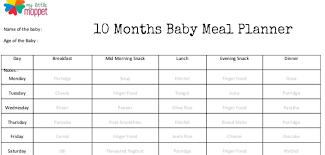 10 Month Baby Food Chart 10 Months Baby Meal Planner Free Download My Little Moppet