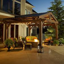 Outdoor GreatRoom Company Lodge II 14 X 14 Foot Wood Pergola Outdoor Great Room