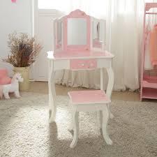 teamson kids childrens pink wooden vanity table stool dressing mirror td 11670k