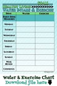 Workout Goal Chart Water Intake And Exercise Tips Plus A Tracking Chart Water
