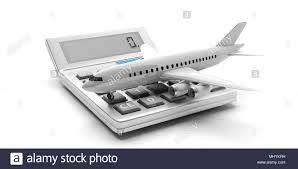 Travel Cost Calculator Travel Cost Calculation Concept Blank Commercial Airplane