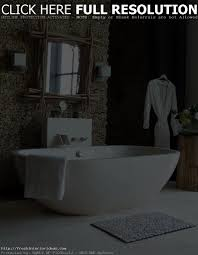 classic natural bathroom with white bathtub
