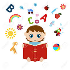 vector vector ilration of boy sitting and reading book open book with children s icons flying out white background