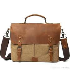 full grain leather purses men genuine briefcase business bag canvas cross shoulder laptop handbag garment