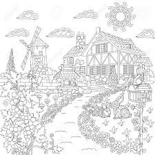 coloring book page of rural landscape farm house windmill water well mail