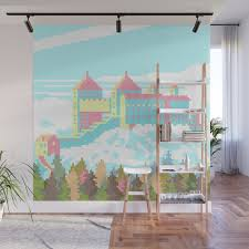 pastel castle wall mural by arics