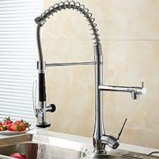 FLG Spring Single Handle Pull Down Kitchen Sink Faucet with