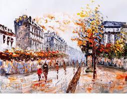 top hand painted unique autumn color street view of paris palette knife oil painting