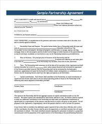 Sample Partnership Agreement Form Property Partnership Agreement Template Sinma
